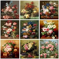 photocutom paint by numbers pink flowers diy 60x75cm oil painting by numbers on canvas frameless number painting pictures wall d