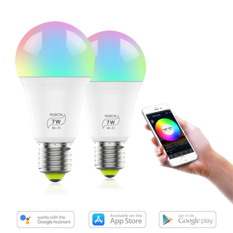 new e27 rgbw led lamp wifi smart light bulb 7w dimmable multicolor wake up lights compatible with alexa and google assistant Smart Wifi Bulb Dimming Light Bulb, Dimmable, Multicolor, Wake-Up Lights, Compatible With Alexa And Google Assistant