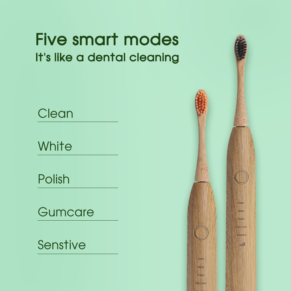 [zs] Bamboo Wood Material Electric Toothbrush Natural Environmental Friendly Reuse Intelligent Chargeable Teeth Clean Brushes enlarge