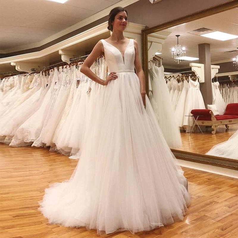 Promo Sexy V-neck A-Line Wedding Dresses 2020 Nova Praia Simple White Ivory Tulle Sashes Bridal Gown
