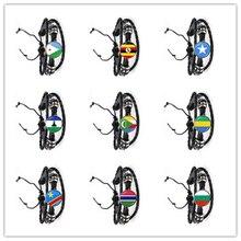 지부티, 우간다, 감비아, 콩고, 가봉, 코모로, 레소토, 소말리아, 불가리아 국기 여성용 가죽 팔찌 남성용 보석 선물