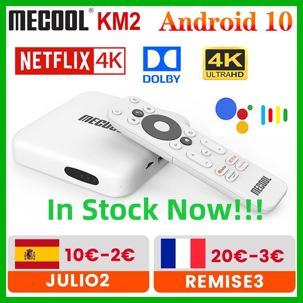 صندوق تلفاز ذكي من Mecool KM2 يعمل بنظام أندرويد 10 صندوق تلفزيون معتمد من جوجل 2 جيجا بايت 8 جيجا بايت دولبي BT4.2 2T2R واي فاي مزدوج نيتفلكس 4K برايم ميد...