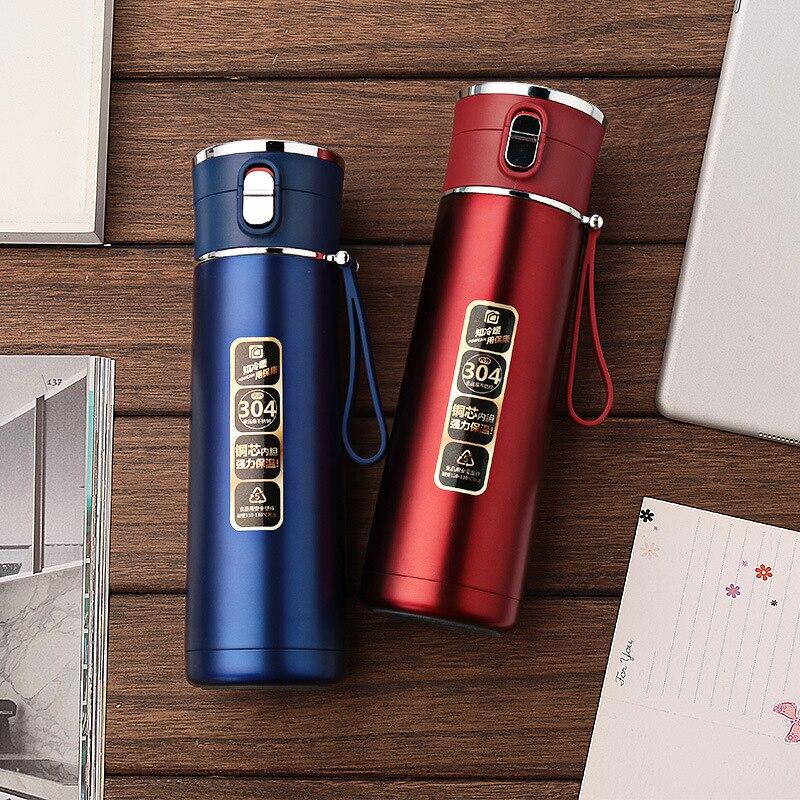 Garrafas de Vácuo Portátil Parede Dupla Inoxidável 450ml Garrafa Térmica Copo Chá Café Leite Caneca Viagem Presentes Thermocup Aço