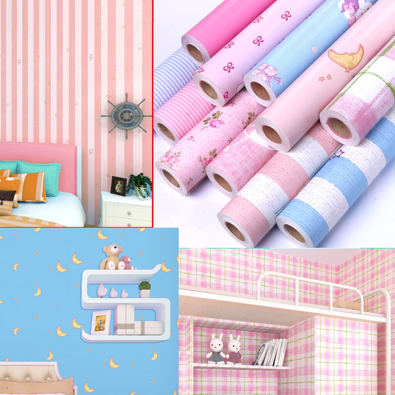 girl boy 10 m pink self-adhesive wallpaper dormitory college student decoration bedroom romantic wall sticker furniture renovati