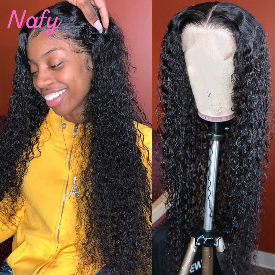 On Sale 180 Density Kinky Curly Human Hair Wigs t Part Lace Frontal Wigs For Women Brazilian Curly Wig Lace Front Wigs