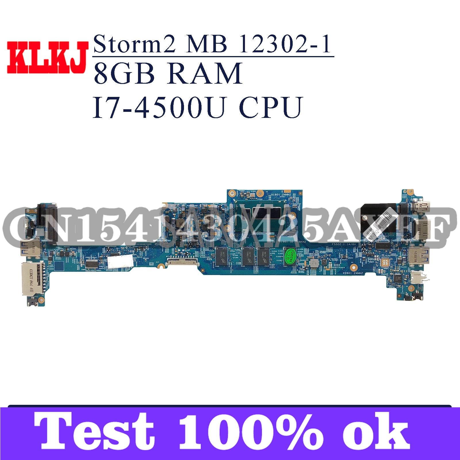 KLKJ 12302-1 اللوحة الأم للكمبيوتر المحمول لشركة أيسر S7-392 اللوحة الرئيسية الأصلية 8GB-RAM I7-4500U وحدة المعالجة المركزية