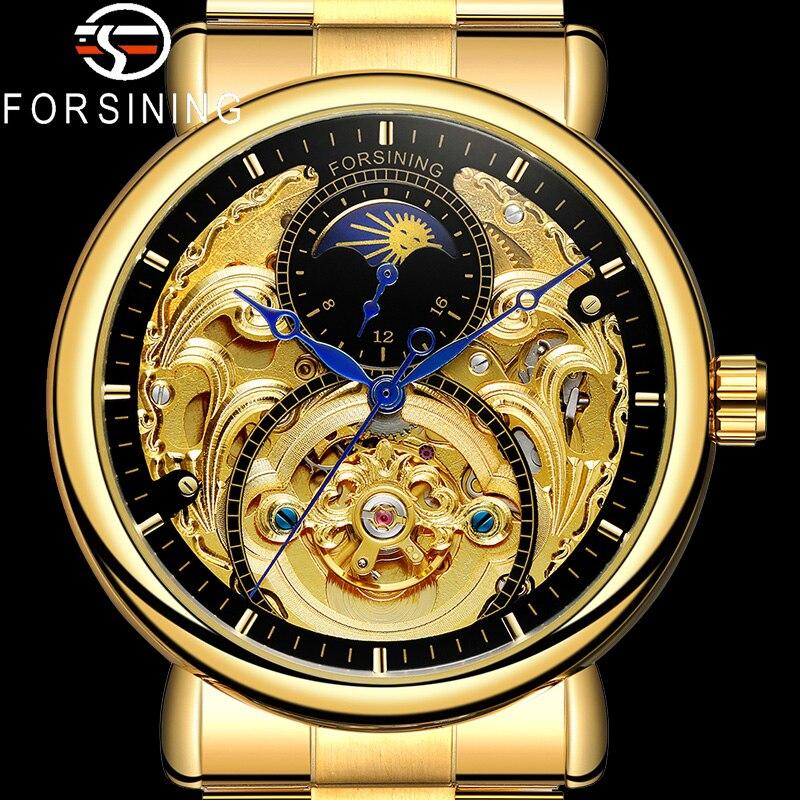 FORSINING Automatic Mechanical Men Wristwatch Military Sport Male Clock Top Brand Luxury Gold Steel Skeleton New Man Watch 8177