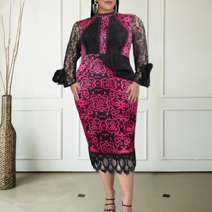 Women Floral Print Dresses Long Sleeve Lady Fashion Ruffles Bodycon Lace Patchwork Plus Size African Gowns with Elastic XXL