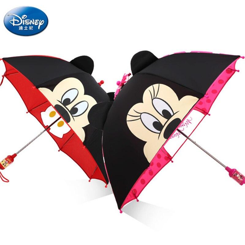 Sombrilla de dibujos animados para niños de Disney, sombrilla portátil de tres pliegues de Mickey Minnie, sombrilla para estudiante, niño, niña y adulto, regalos para niños