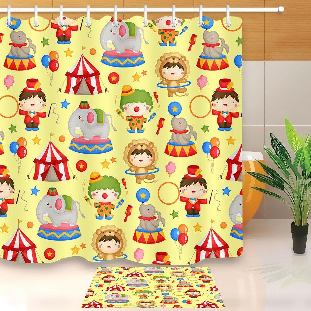 À prova dwaterproof água dos desenhos animados circo no carnaval cortina de chuveiro decoração do banheiro tapete de banho