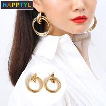 HAPPTYL 1Pair Women Wedding Personalized Alloy Geometric Glossing Drop Dangles Bridal Stud Earrings