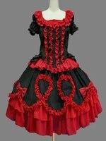 lolita dress short sleeve ruffles and bows lace up classic lolita one piece dress