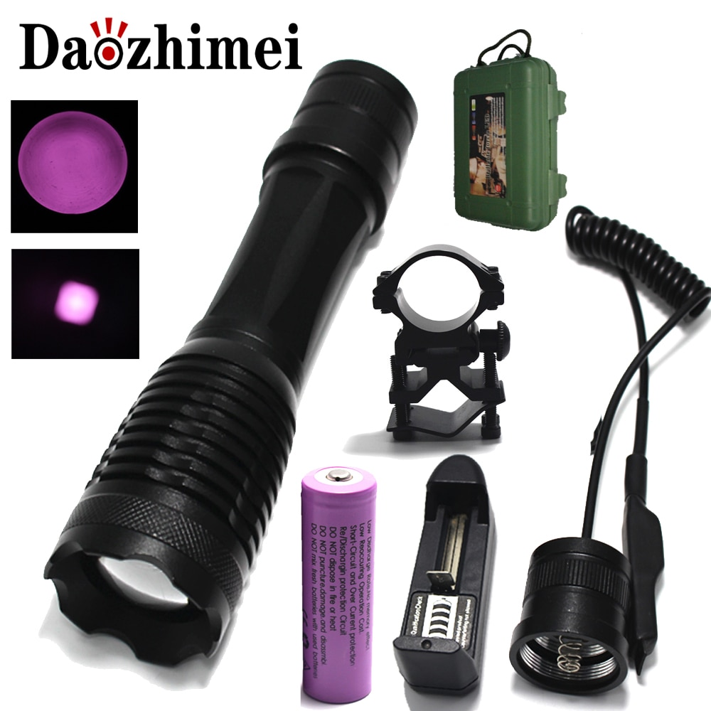 ir 850nm night vision zoomable ir infrared waterproof shake proof led flashlight with zoom telescope functions torch IR 850nm 5w Night Vision Infrared Zoomable LED Flashlight Green/Red/Torch/PressureSwitch Mounts use18650 battery +Gift box
