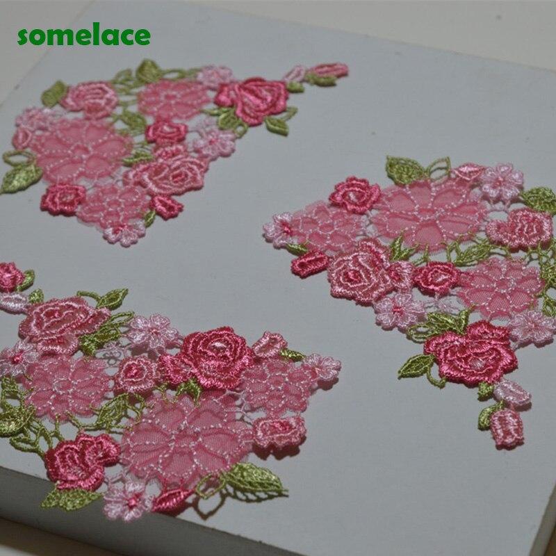 Size11 * 7cm (10 unids/lote) costura de Color rosa fluorescente con motivo Floral de flores Apliques de encaje venidas para parches de encaje bordado de prendas de vestir