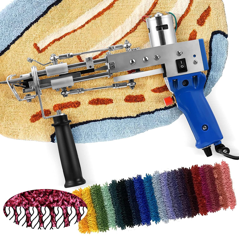 5-40 Steps Electric Carpet Tufting Gun Hand Gun Carpet Weaving Flocking Machines Cut Pile for Carpet Fabrics UK/US/EU Plug