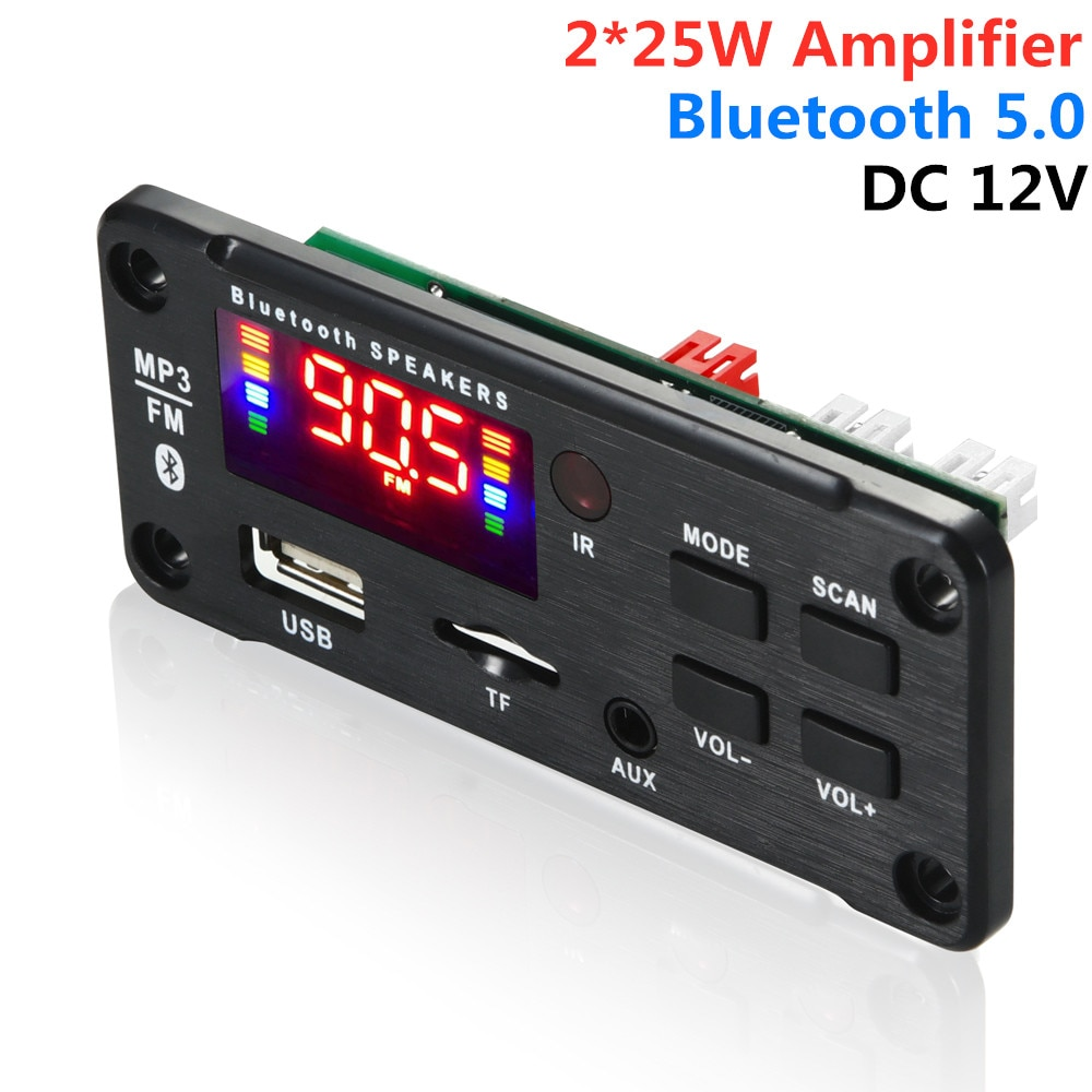ARuiMei   2*25W  50W amplifier MP3 Player Decoder Board 6V-12V Bluetooth 5.0  Car FM Radio Module Support  TF USB AUX vicfine car audio usb tf fm radio module wireless bluetooth 6v 12v mp3 wma decoder board mp3 player with remote control