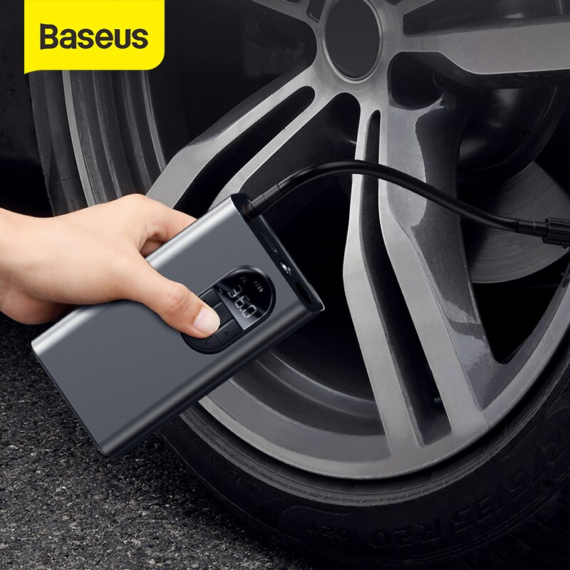 Baseus Portable Inflator Pump Car Air Compressor Smart Digital Tire Pressure Detection Auto Tire Pump for Car Bike Motorcycle