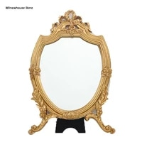f62a antique decorative makeup mirror vintage carved cosmetic mirror w golden frame