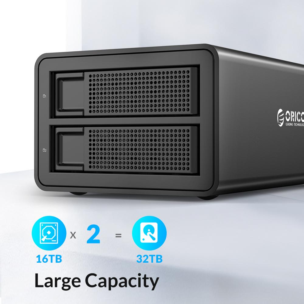 ORICO 35 Series 2 bay 3.5'' USB3.0 to SATA With RAID HDD Docking Station Aluminum HDD Enclosure 48W Power Adapter Support UASP enlarge