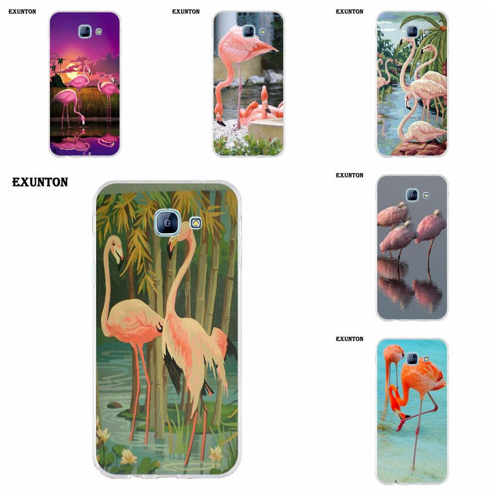 Soft Cellphone Transparent Flamingo On Mint Lake For Galaxy Alpha Core Prime Note 2 3 4 5 S3 S4 S5 S6 S7 S8 mini edge Plus