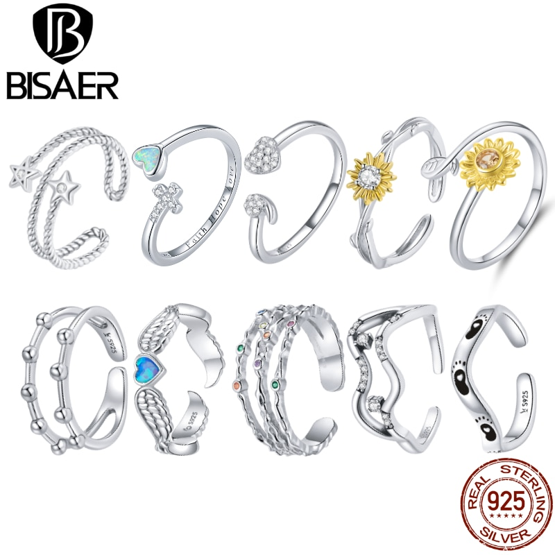 BISAER 925 Sterling Silver Daisy Ring Colorful Zircon Star Ring Fashion Adjustable Size Ring For Women Engagement Jewelry EFR127 925 sterling silver ring for women adjustable ring female zircon silver 925 ring personality flower grass simple fashion jewelry