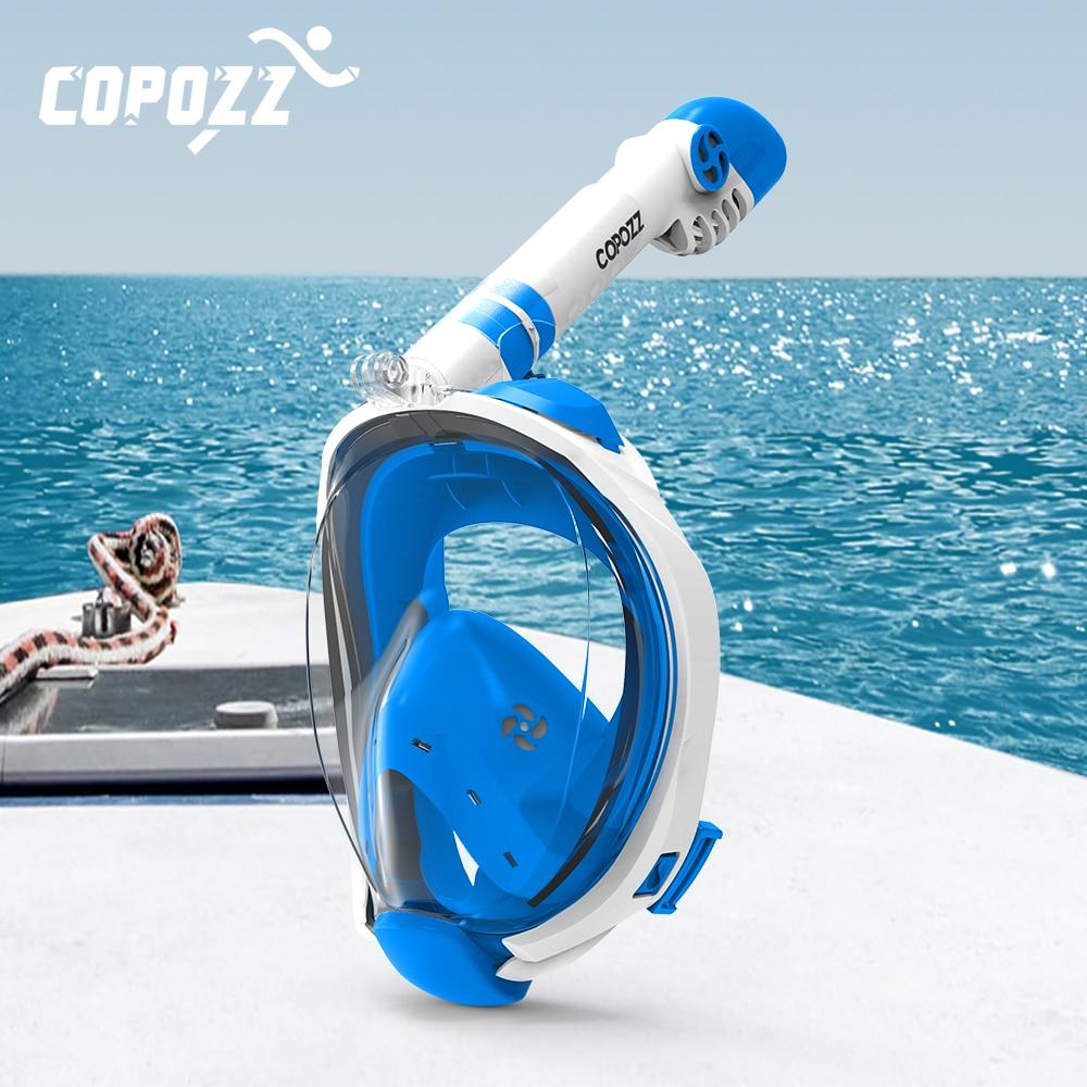 قناع غوص سكوبا للوجه بالكامل ، نظارات ضباب مع حامل كاميرا ، قناع تنفس تحت الماء ، قناع سباحة للشباب والكبار