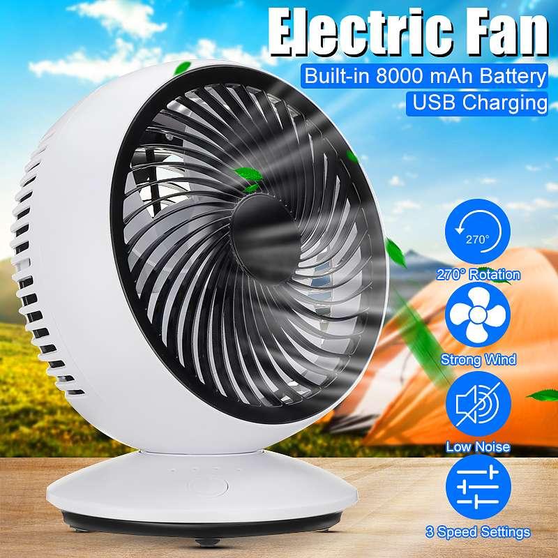 Электрические вентиляторы, портативные настольные мини-вентиляторы с зарядкой от USB, 3-скоростные, с автоматическим вращением на 270 градусов...