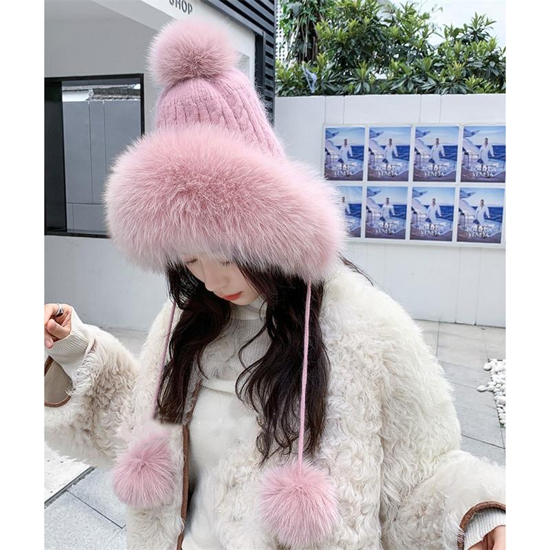 2021 Winter New Fox Fur Knit And Fluffy Yarn Hat Fashion Korean Version Of Ear Protection Cute Warm Hat