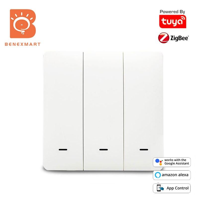 مفتاح الضغط على الحائط من Benexmart Tuya زيجبي بدون حيادي أليكسا جوجل الرئيسية مفاتيح الإضاءة المادية مع زر كبير 110 فولت 240 فولت