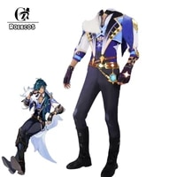 rolecos game genshin impact cosplay costume kaeya handsome combat male activity party role play clothing