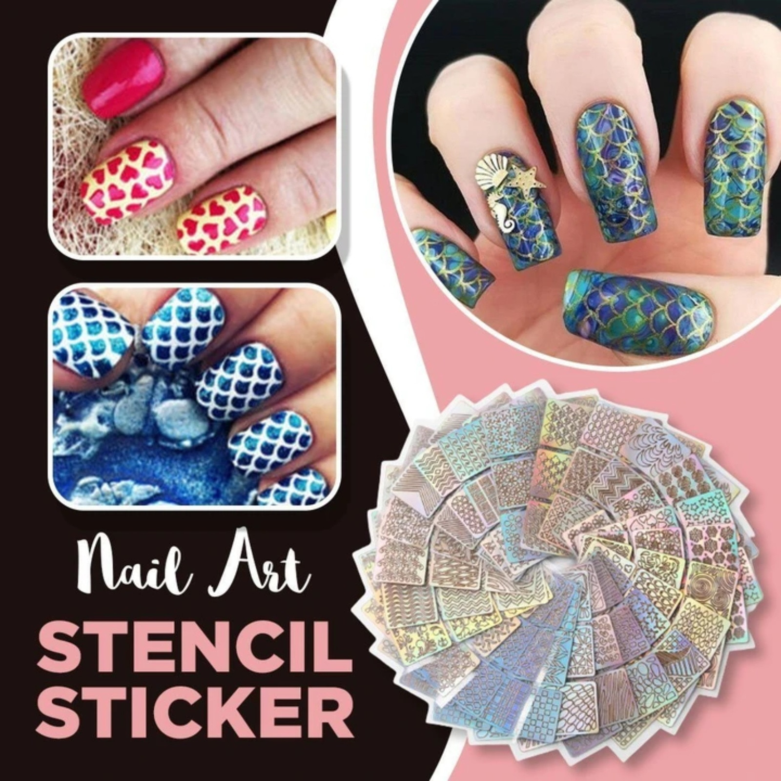 24 Sheets Different Styles Stencil Nail Art Stickers Set Designs Cute Wrap Slide Decal Nail Art Kits