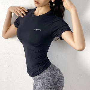 new women's tight waist t-shirt quick dry breathable flexible sports trainning yoga fitness workout t-shirts