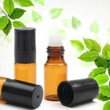 1/5/10Pcs 3ml Amber Roll On Glass Roller Bottles Vial For Perfume Essential Oil