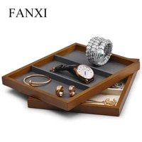 the new jewelry tray solid wood three grid plate ring necklace bracelet storage tray shop to see the pallet