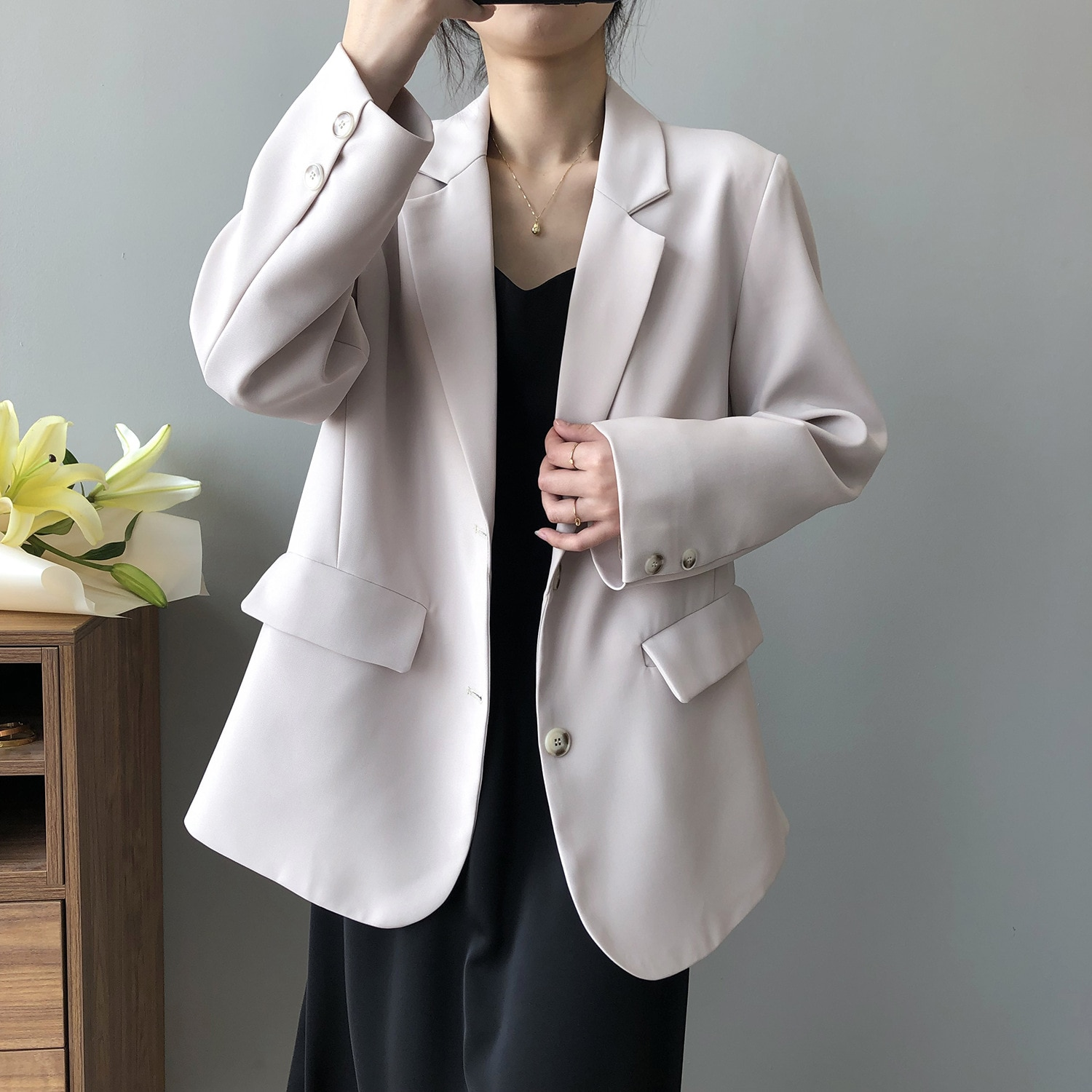 Casual Loose Suit Jacket Women's Spring 2021 New Korean Long Sleeve Shoulder Pad Solid Oversized Bla