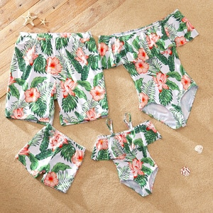 PatPat 2021 New Arrival Leaf and Floral Print Off Shoulder Family Matching Swimsuits