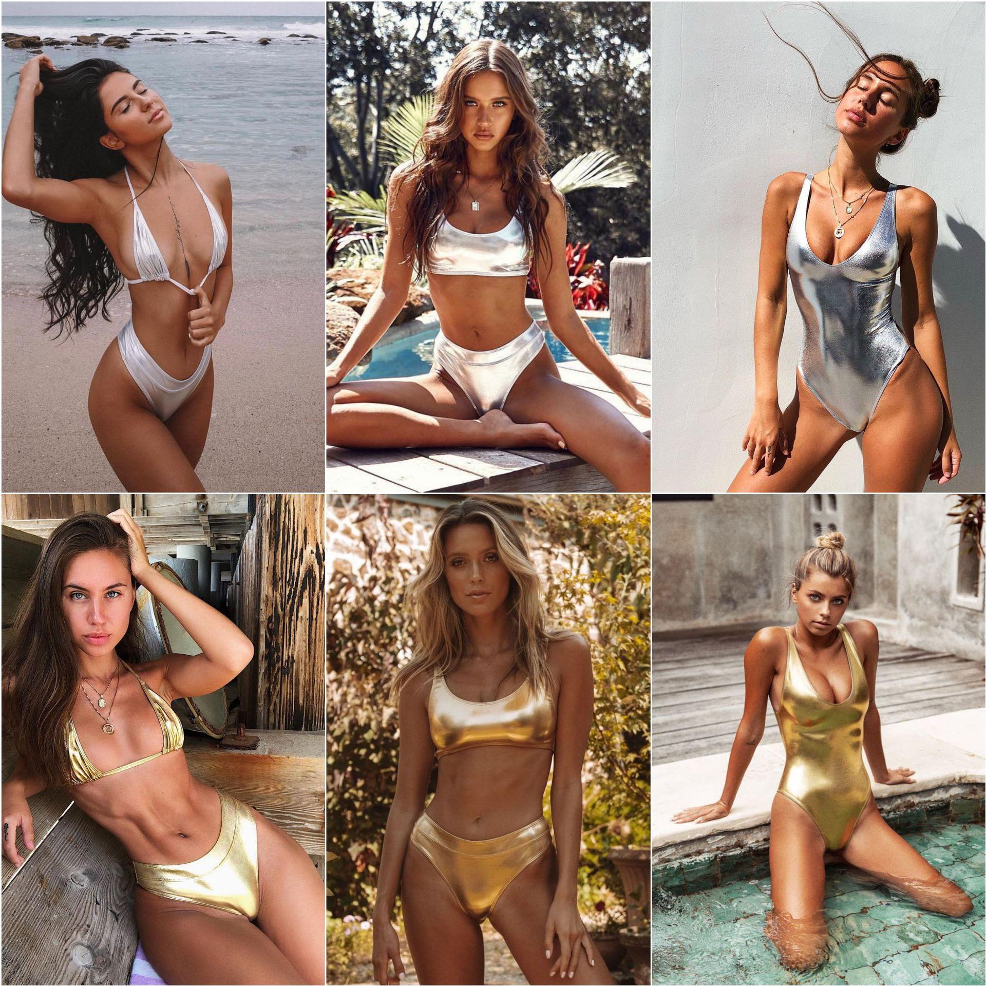 Biquíni feminino brasileiro estilo vintage, roupa de banho brilhante, dourada/prateada, metálico, para praia, maiô, moda praia