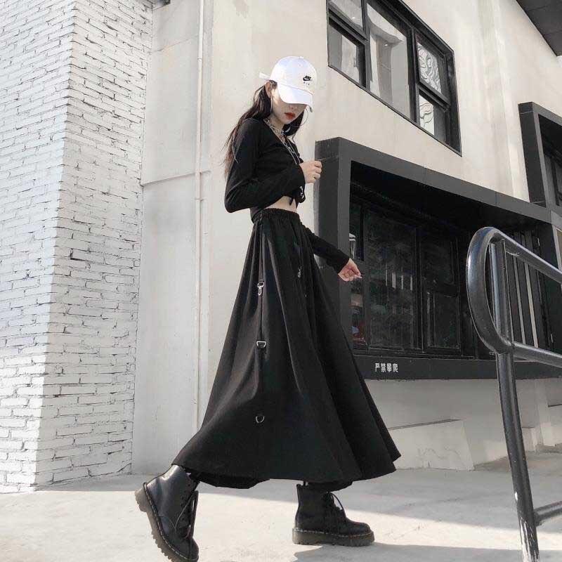 NiceMix женская сексуальная юбка с высокой талией в стиле Харадзюку, готика, миди, длинная, панк, уличная, кольцо, лента, свободная юбка, корейский спортивный костюм, черный, винтажный H