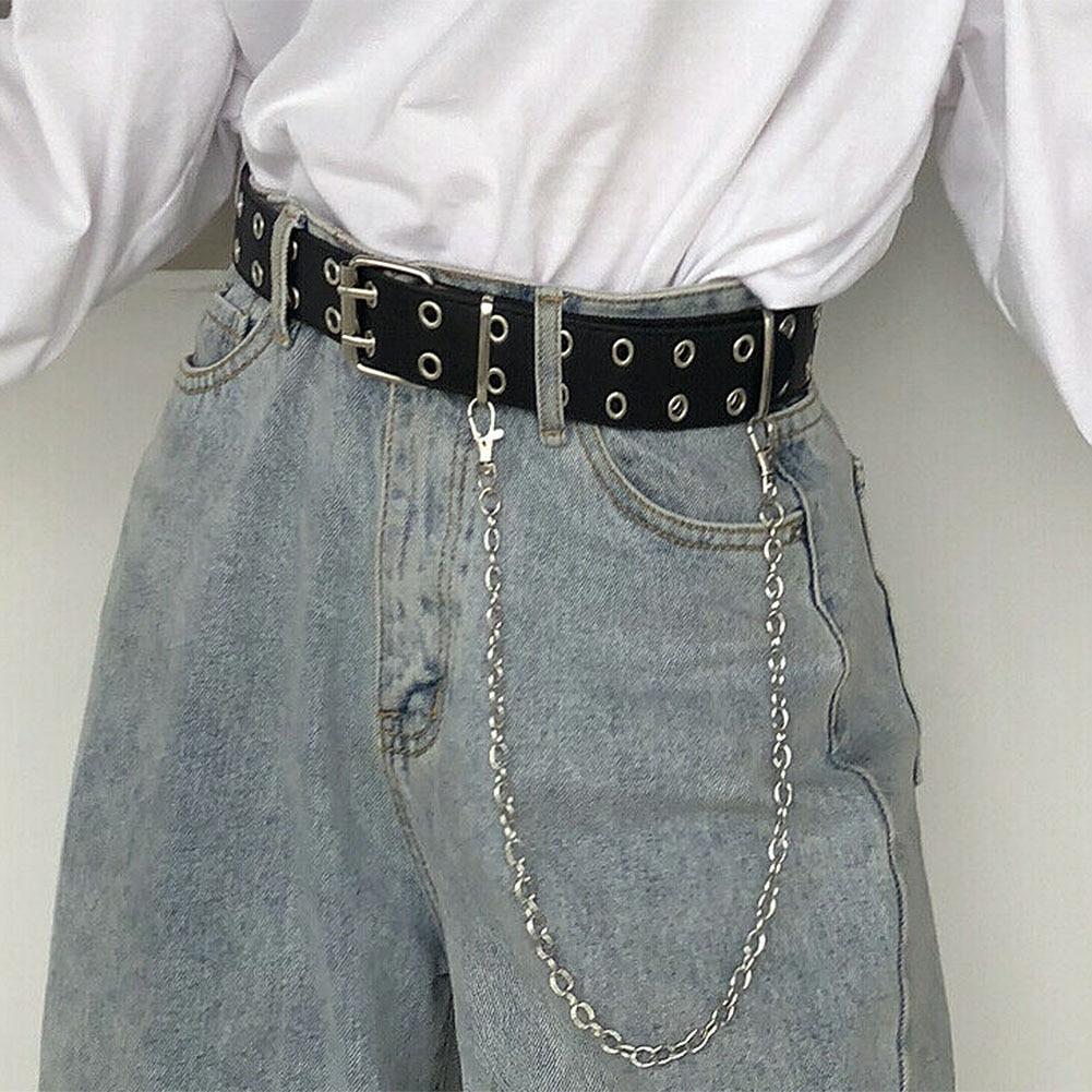 Cinturón de moda de cadena Punk para mujer, cintura ajustable con ojal de doble hilera y agujero de una hilera con cadena de ojal, cinturones decorativos, novedad de 2020