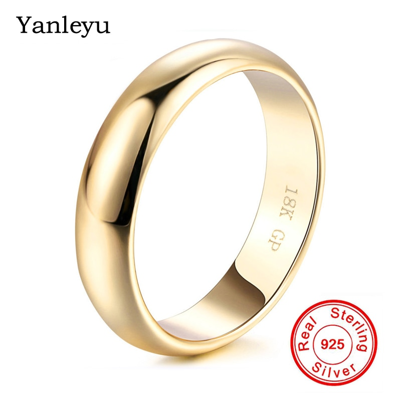 Review Yanleyu 18K Yellow Gold Filled Jewelry 18KGP Stamped Wedding Band Rings for Men and Women Couple Rings Anniversary Gift PR426