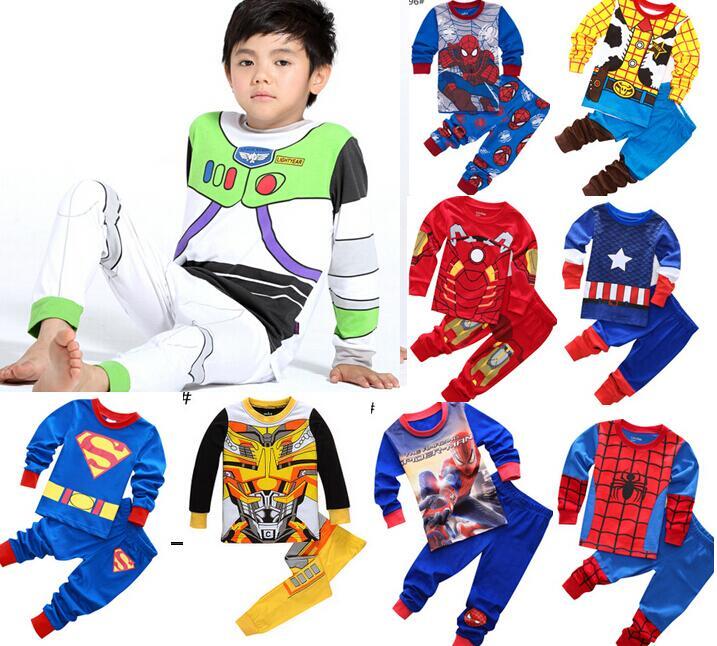 kids cotton pajamas Buzz Lightyear Spider-Man Batman Superman sets sleepwear baby boys girls Cartoon pijamas nightwear clothes
