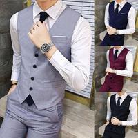 Жилет мужской деловой, повседневный безрукавка, официальный костюм, приталенный стильный жилет, черно-серый, подходит для свадьбы
