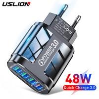 USLION 3A быстрое зарядное устройство для iPhone 12 11 4 порта машинка для стрижки 48 Вт Настенный светильник USB зарядное устройство по стандартам ЕС/С...