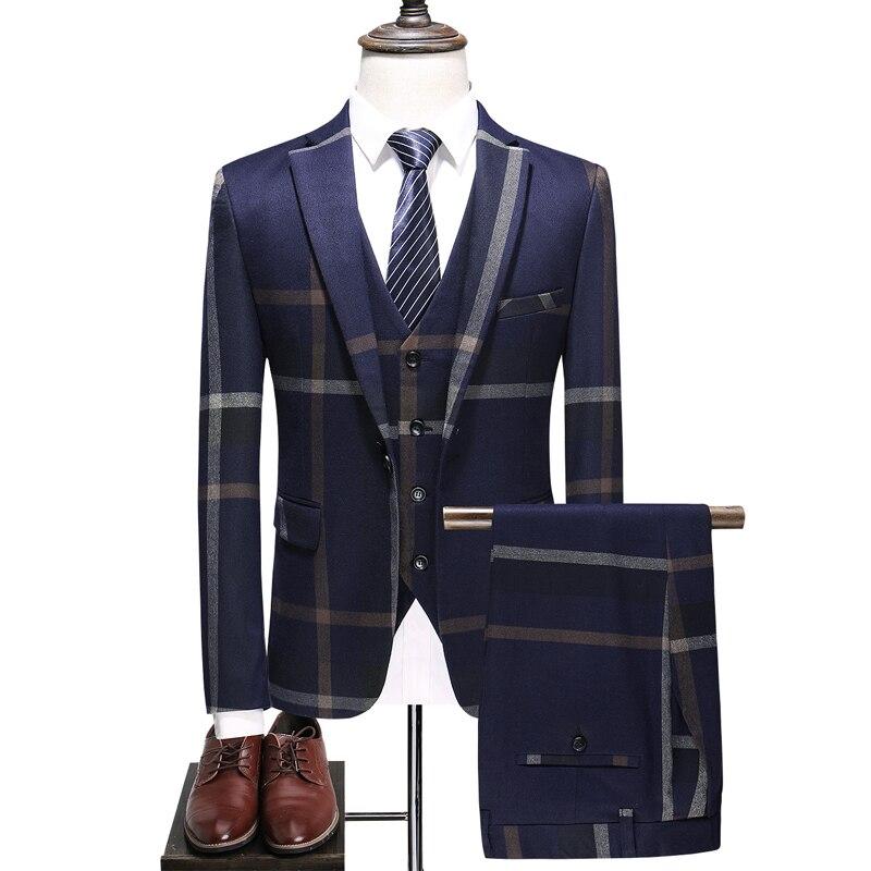 (Пиджак + жилет + брюки), новый мужской бутик плед торжественное платье Комплект из трех предметов мужские туфли в деловом стиле; Повседневна...