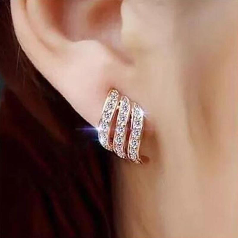 Fashion Jewelry For Women Stud Earring Gold Color Crystal Shiny Female Geometric Long Brinco Earing Oorbellen 2020