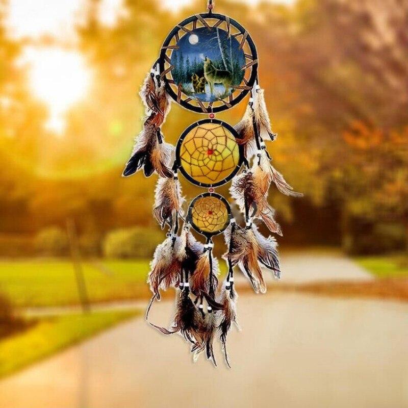 Pluma de águila sueño catcher grandes 3 anillo de hierro interior colgante indio sueño catcher colgante regalo de decoración de la boda