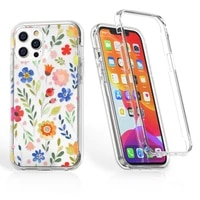 cute flower double layer case for iphone 11 12 pro max x xs xr 7 8 plus 12mini colorful floral clear shockproof two in one cover