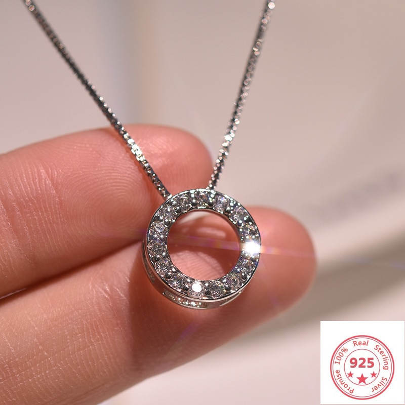 925 Silver Color Necklace Pendant Jewelry for Women Full Diamond Circle Luxury Pierscionki