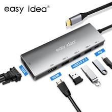 USB C Hub tipi C adaptörü Splitter çoklu usb 3.0 HDMI VGA Port çoklu USB-C Hab genişletici Macbook Pro bilgisayar aksesuarları