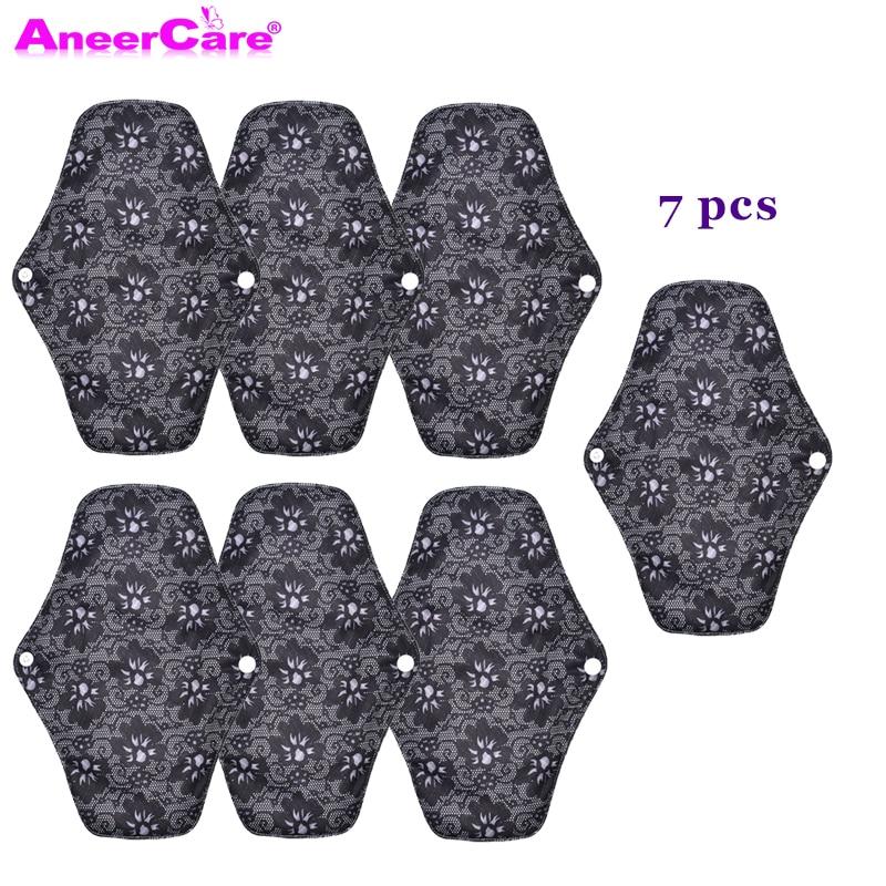 7 pcs reusable sanitary pads water absorption environmental protection reusable charcoal cloth bamboo menstrual pads
